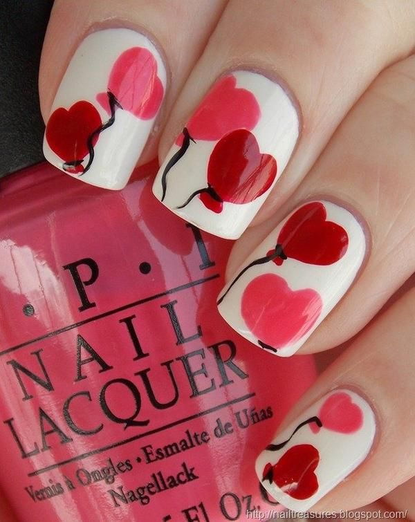 Heart Shaped Balloons Manicure.