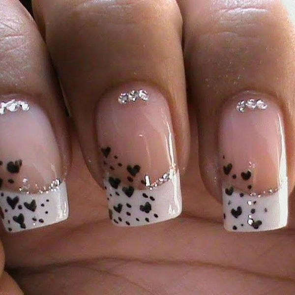 Small Hearts Black & White Nail Design.