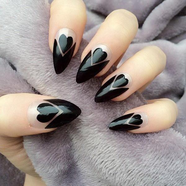 Black Hearts + Negative Space Stiletto Nails.