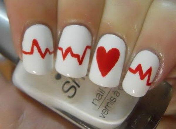 Red and White Heart Nail Design.