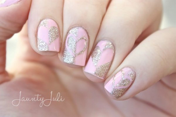 Gold Glitter Hearts & Pink Base Nail Design.