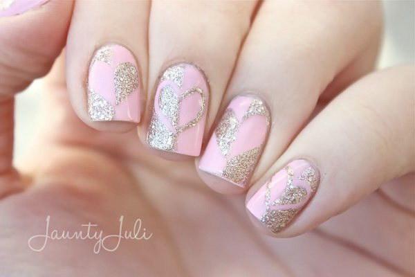Gold Glitter Hearts & Pink Base Nail Design.