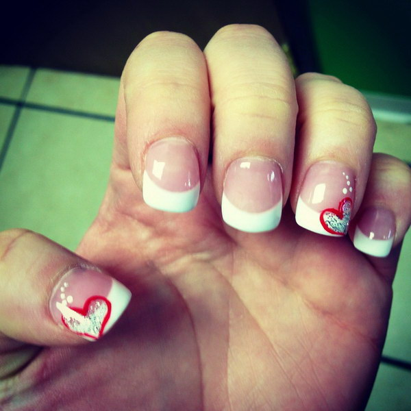 French Tips Nail Design Accented with Red Hearts - 45+ Romantic Heart Nail Art Designs - For Creative Juice