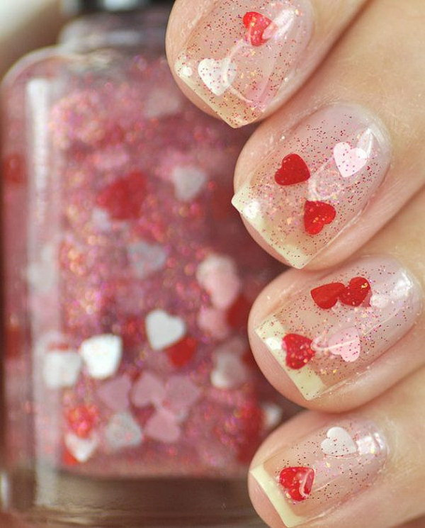 Smitten Red and Pink Heart Glitter Nails.