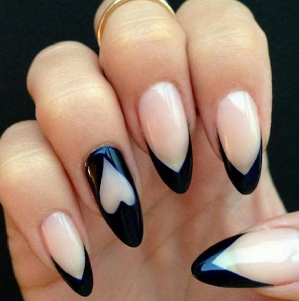 A Pit More Pink with Black Heart Stiletto Nails.