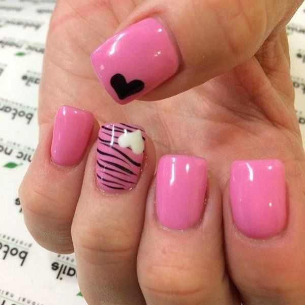 Hot Pink & Leopard Nail Design with Hearts Accent - 45+ Romantic Heart Nail Art Designs - For Creative Juice