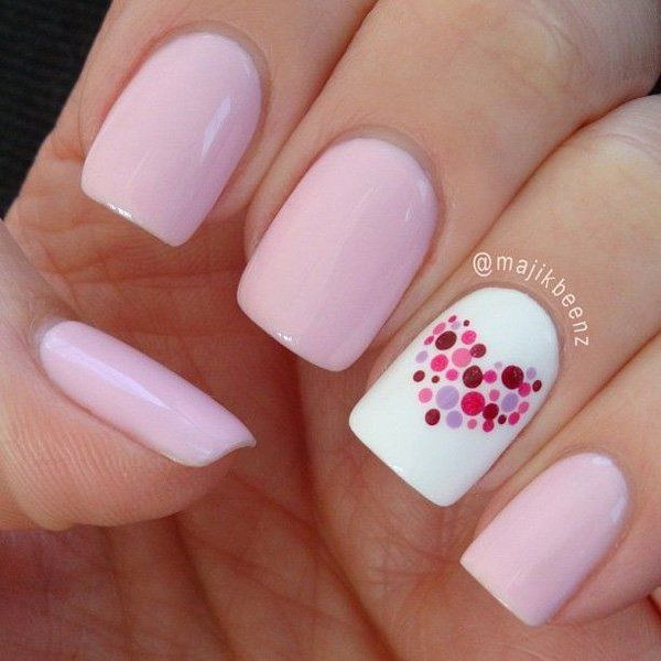 Dotted Heart Nail Art Design.
