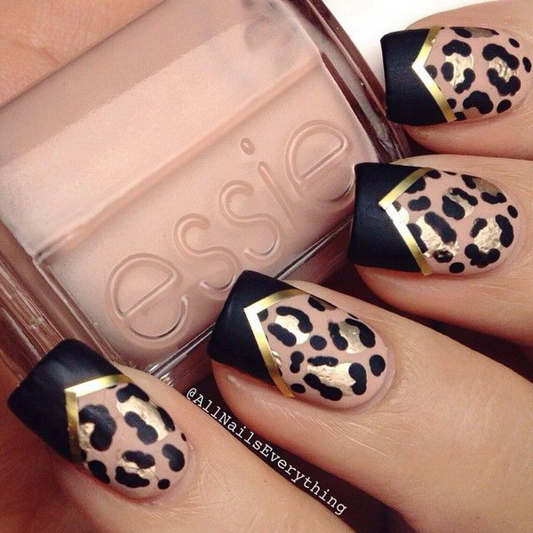 Leopard print nail design with gold striping tape & black chevron tips. - 50 Stylish Leopard And Cheetah Nail Designs - For Creative Juice