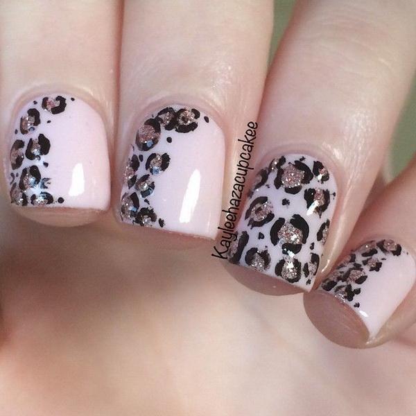 Soft pink and glitter leopard print nail art .