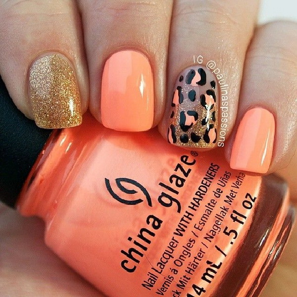 Coral & Glitter Animal Prints Nail Design. - 50 Stylish Leopard And Cheetah Nail Designs - For Creative Juice
