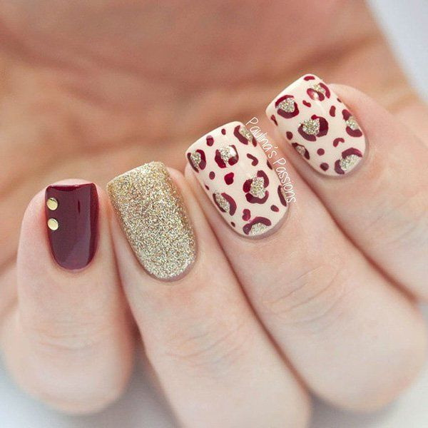 Red, Beige and Gold Glitter Leopard Nail with Golden Beads on Top for  Accent. - 50 Stylish Leopard And Cheetah Nail Designs - For Creative Juice