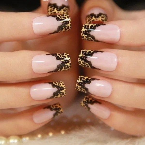 Leopard Print with Black Lace Nail Designs. - 50 Stylish Leopard And Cheetah Nail Designs - For Creative Juice