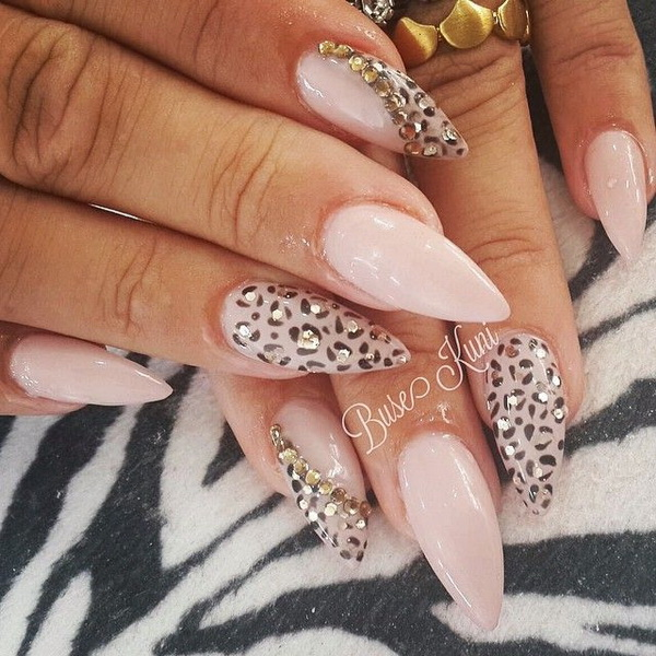 Nude Base Stiletto Nail Design with Animal Prints and Studs on Top for  Accent. - 50 Stylish Leopard And Cheetah Nail Designs - For Creative Juice