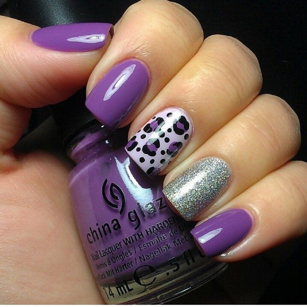 Purple and Glitter Leopard Nail Design.
