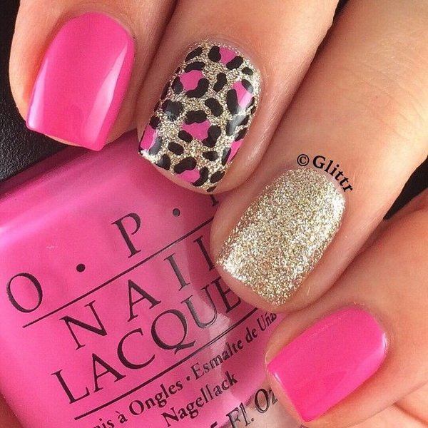 Glittery Leopard Mnicure. - 50 Stylish Leopard And Cheetah Nail Designs - For Creative Juice