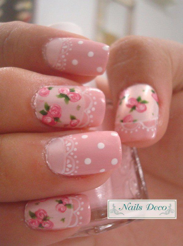 45 pretty pink nail art designs for creative juice pink roses with lace white dots nail design prinsesfo Choice Image
