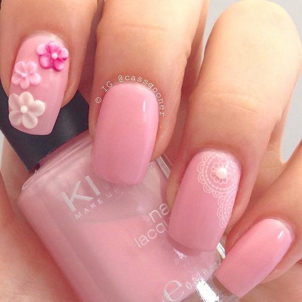 Pretty Baby Pink Nail Design.