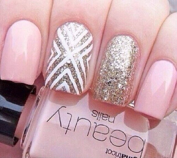 Pretty Pink and Glitter Nail Design for Prom.