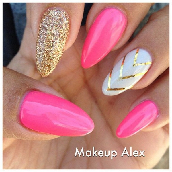 Pink and Glitter Stiletto Nails.
