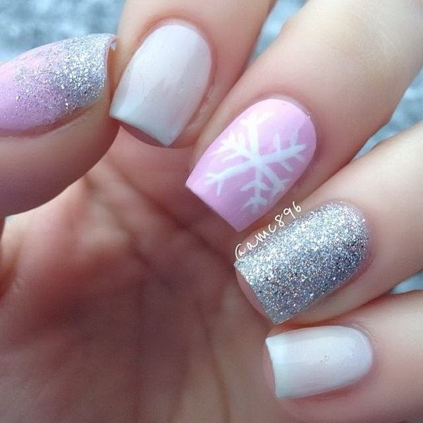 Pink and White Sparkle Nails with Snowflake Accent.