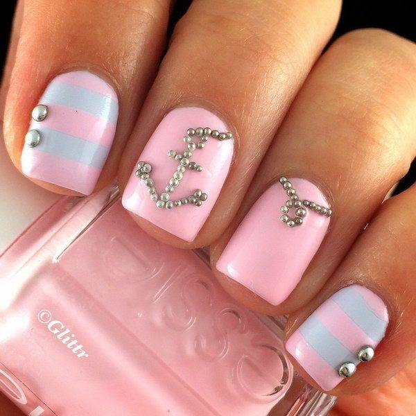 Pastel Pink and Blue Nautical Nails with Anchor Studded - 45 Pretty Pink Nail Art Designs - For Creative Juice