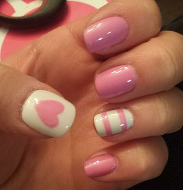 Lovely Heart & Strips Pink Nail Design.