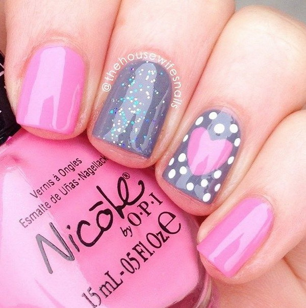 45 pretty pink nail art designs for creative juice cute pink heart nails prinsesfo Choice Image