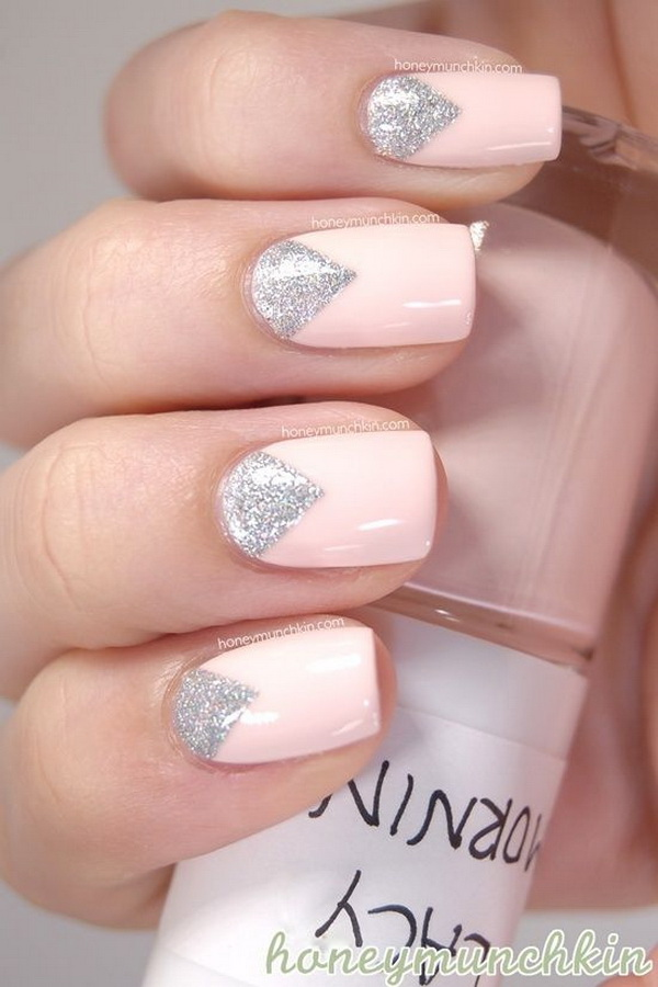 Pale Pink and Silver Nail Design.