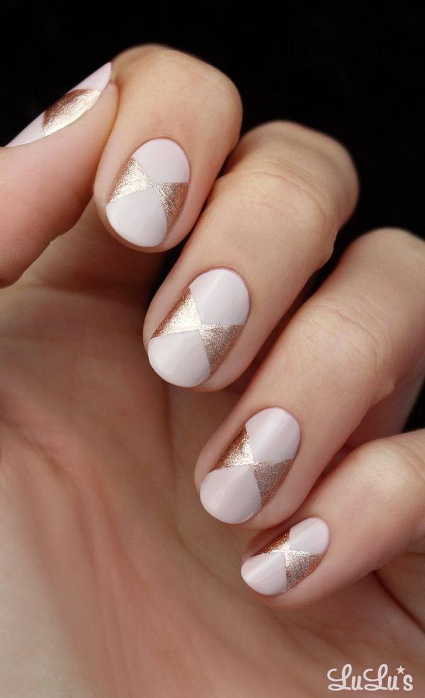 DIY Pink and Rose Gold Bow Nail.