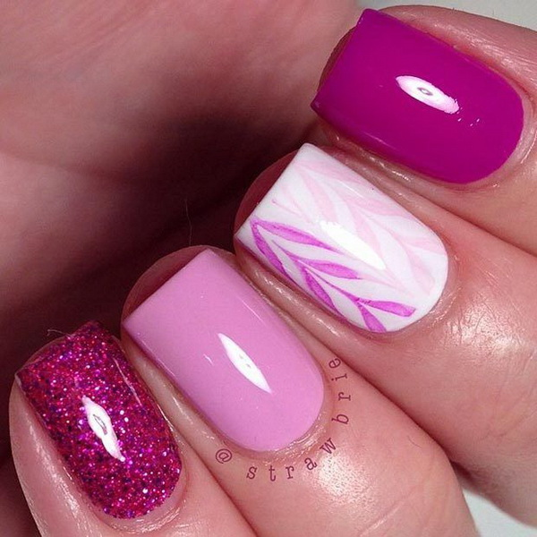 Simple Pink and White Nail Design for Short Nails - 45 Pretty Pink Nail Art Designs - For Creative Juice