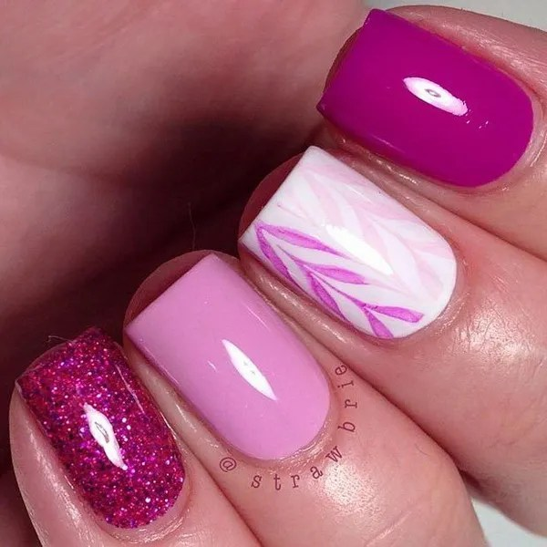 Simple Pink and White Nail Design for Short Nails.