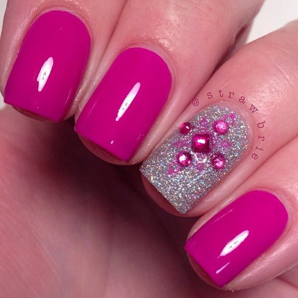 Hot Pink and Silver Nail Design for Short Nails.