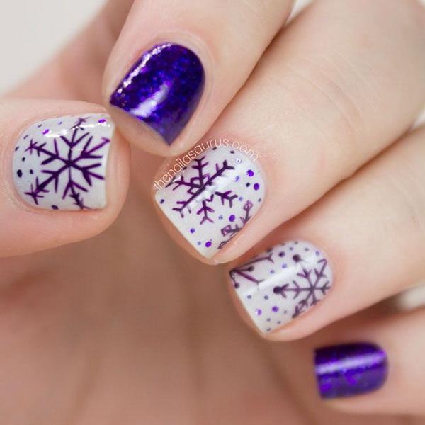 White and Purple Snowflake Nails.