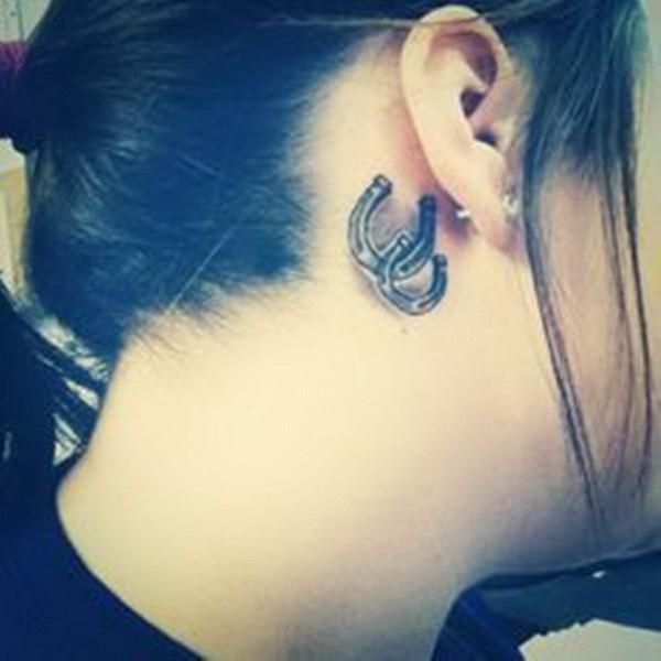 Horseshoe Tattoo Behind Ear.