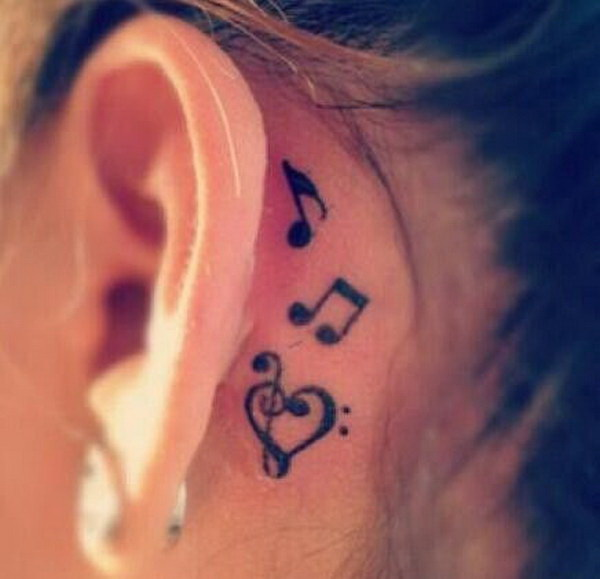 Music Notes Tattoo Behind the Ear.