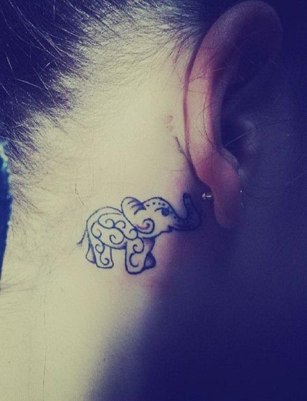 Behind The Ear Elephant Tattoo.