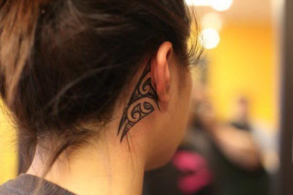 3D Tribal Ear Tattoo for Girls.