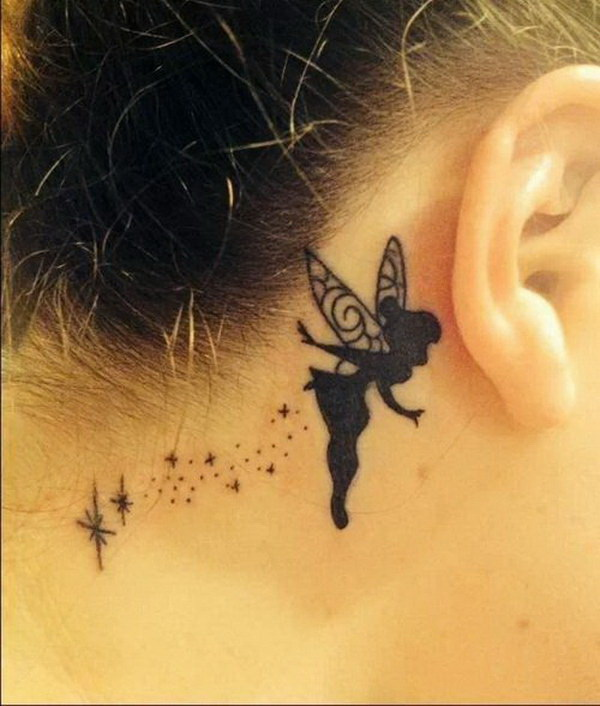 Tinker Bell Ear Tattoo Design.