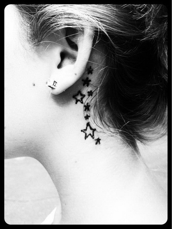 Stars Behind The Ear Tattoo.