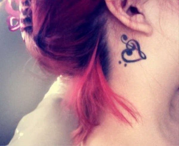 Music Notes Behind Ear Tattoo.