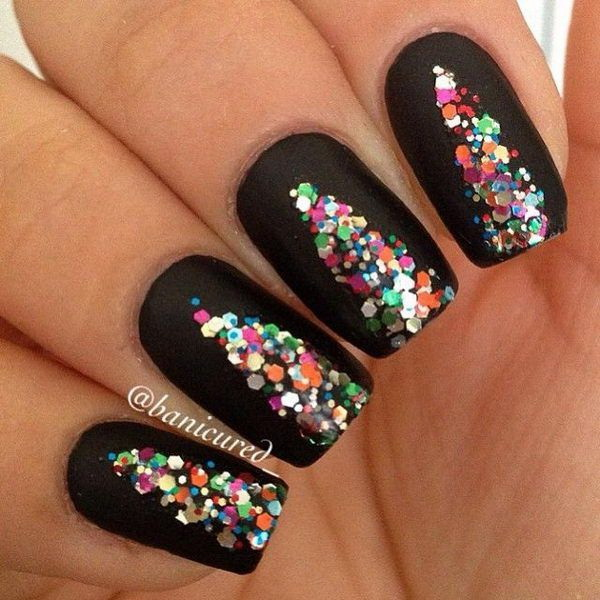 Black Background Nails with Colorful Sequins.