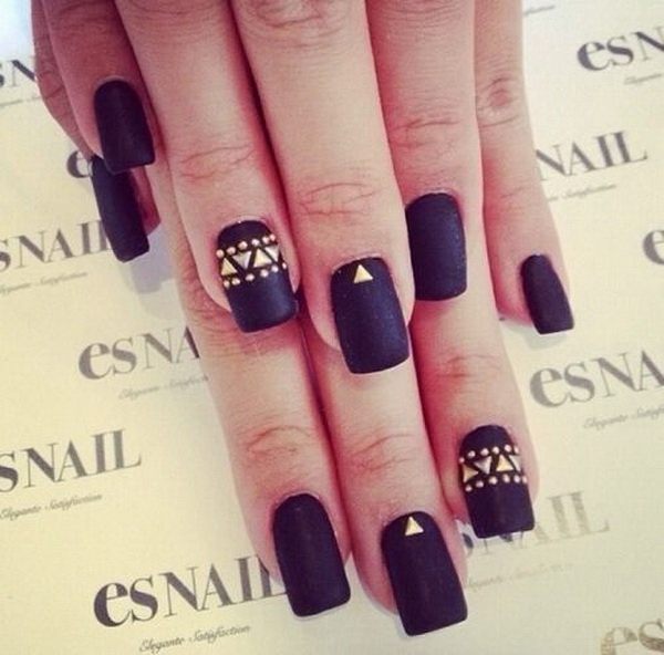Matte Black Nails with Gold Studs.
