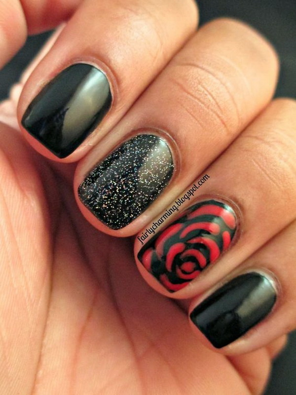 Black and Red Rose Floral Nails.