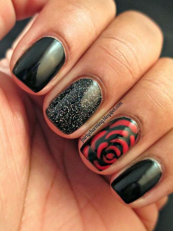Black and Red Rose Floral Nails - 25+ Elegant Black Nail Art Designs - For Creative Juice