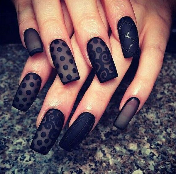 Black Lace Nail Design.
