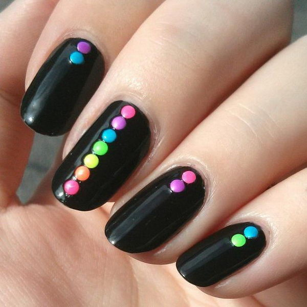 25 elegant black nail art designs for creative juice black nails with colorful dots on top prinsesfo Choice Image