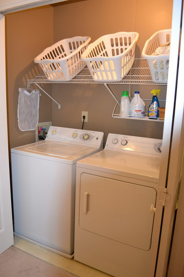 Slope Shelf for Easy Access in the Laundry Room.