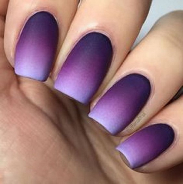 Violet and Periwinkle Ombre Nail Art Design.