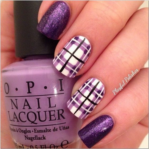 Purple Plaid Nail Design - 30+ Chosen Purple Nail Art Designs - For Creative Juice