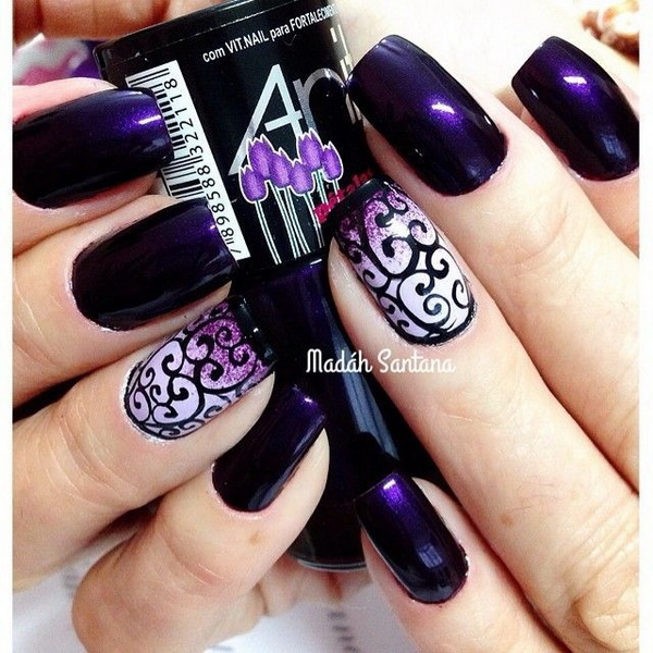 Dark Purple Nails with Swirls Designs - 30+ Chosen Purple Nail Art Designs - For Creative Juice